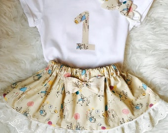 Girls Birthday Peter Rabbit Outfit 1 - 6 years. Beatrix Potter Birthday Set, Peter Rabbit Birthday set, Cake Smash Outfit, Flopsy Bunny Set.