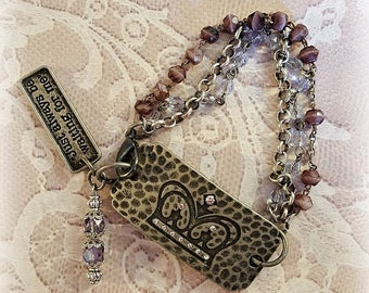Rhinestone Crown Connector Bracelet, Lavender Rosary Beads, Silver Chains, Assemblage Bracelet, Repurposed and Upcycled Jewelry
