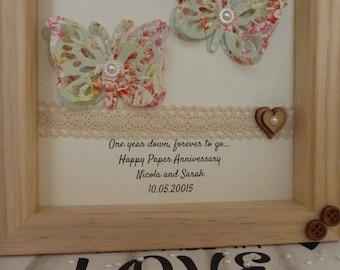1st wedding anniversary gift, 1st anniversary gift, paper gift, 1st framed gift, paper anniversary present, personalised handmade frame
