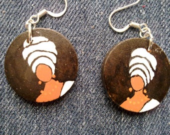 Headwrap Painted Wood Earrings -- black and white