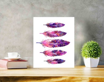Feather Printable wall art Feather Watercolor Feather decor Feather Art Feather Poster Feather 5x7 inch printable