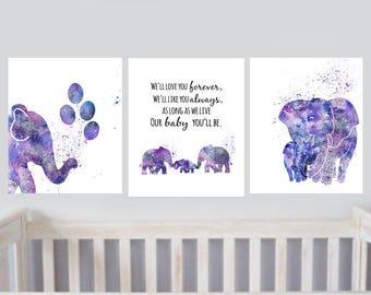 Purple Elephant Nursery decor Printable Purple Elephant Moroccan Style Nursery decor set of 3 Printables