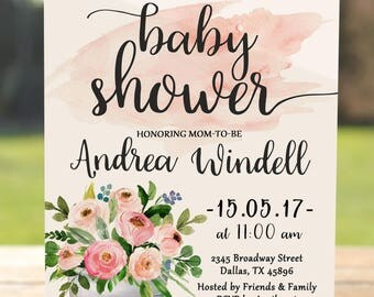 Floral baby shower invitation girl printable, baby shower invitation girl floral, baby girl shower invitation printable, girl baby shower