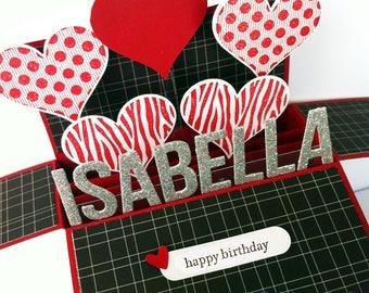Name Personalised valentines card, happy valentines card, Birthday Card girlfriend, Anniversary Card, Love card, Birthday Card boyfriend
