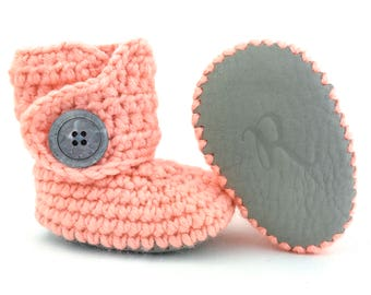 Baby First Walking Shoes, Girly Pink Infant Boots, Feminine Coral Newborn Crib Shoe, Grippy Leather Soft Sole Walkers, Crochet Gray Booties