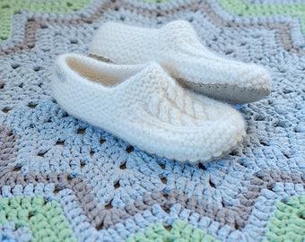 Wool slipper socks Felt soles - Cable knit Boiled wool slippers - White wool slippers