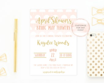 Bridal Shower Invitation, Umbrella Bridal Shower Invite, Pretty Bridal Shower Invites, April Showers Bring May Flowers, Shower Invite [586]