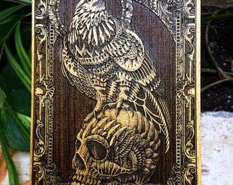Bioworkz, Red Tail Skull Bioworkz, Limited Edition Bioworkz, Artist Collaboration, Boyfriend Gift Idea, Mini Wooden Poster Engraved