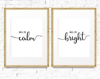All is calm, All is bright, Christmas decor, Holiday decor, Typography decor, Modern holiday decor, Set of 2 printable, Christmas printable