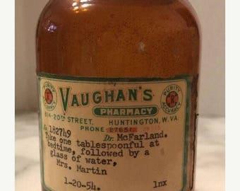 On Sale Large Antique Brown Jar Bottle Vaughan's Pharmacy Medicine Dated 1954