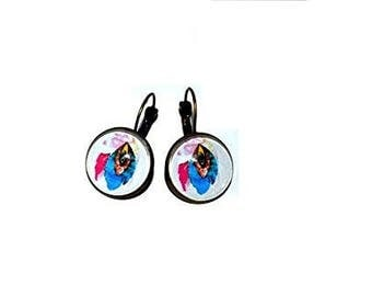 Pierced earrings, Dream catcher, blue, white, fuchsia