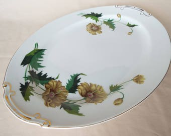 Hira Golden Poppy Oval Serving Platter Dish with Floral Design and Gold Trim 16""