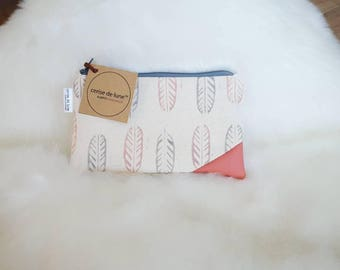 Leaves & peach canvas zipper pouch