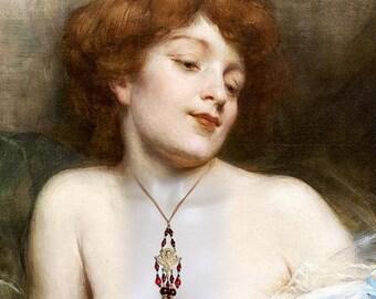 Art nouveau necklace - Ruby color