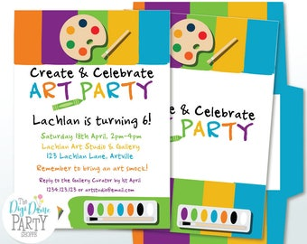Artist/Paint/Art Party Printable Invitation 5x7in. Instant Download