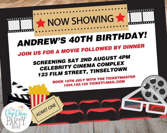 Cinema Movie Theater Party Printable Invitation Template 5x7in