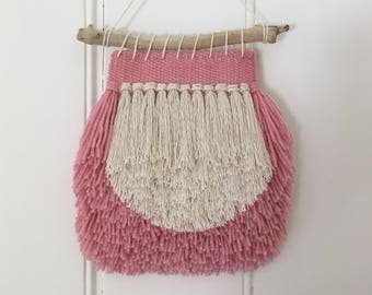 Mini Pink and White Hand Woven Wall Hanging
