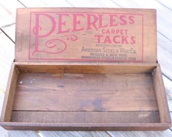 Peerless Carpet Tack wooden box