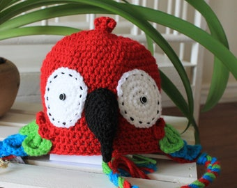Knitted red  Amazonian parrot hat, crochet red macaw cap, funny animal beanie for kids teens and adults