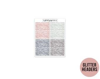 GLITTER HEADERS | Celestial | Planner Stickers  | Add on | Matte