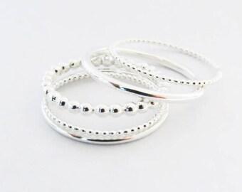 Set of 5 Silver Rings, Skinny Rings, Round Rings, Dot Rings • 925 Sterling Silver Rings • Delicate Stacking Rings,Dainty Rings