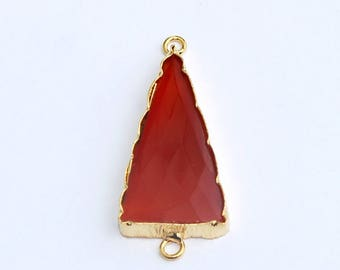 1 Pc 30x14mm 22 kt Gold Plated Red Onyx Triangle Pendant Or Connector, You Pick Single Loop Pendant Or Double Loop Connector /Findings CHC05