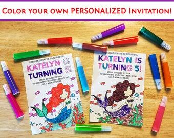 Mermaid Birthday Invitations - Color Your Own Invitation - Under The Sea Birthday - Girl Invitation Kit - Ocean Theme - DIY Mermaid Party