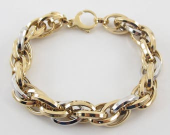 18K Yellow And White Gold Rolo Link Charm Bracelet 7 3/4 Inches 14 grams