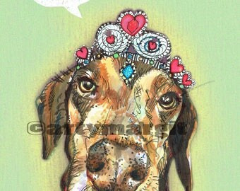 Custom Pet Portrait, posh pooch, illustration, handmade, personalised, include your text or a caption, dog art, artwork of animal face
