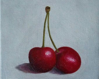 Cherries Oil Painting, Still Life Oil Painting, Kitchen Art, 6x6 Inches Canvas, Tiny Art