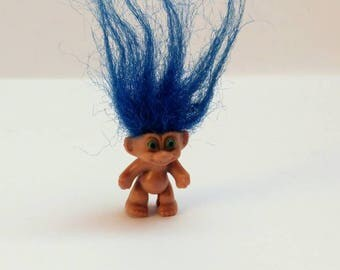 Vintage troll pencil topper blue hair