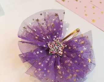 mini Katie - Glitter Star Mesh Hair Barrette, Hair bow clip for baby girls, Toddlers, kids