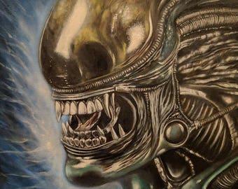 The Alien - 11x14 Original Oil Painting on Canvas, Framed, Alien Art, The Alien Art, Alien Oil Painting, Alien Portrait, Aliens Art