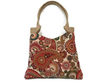 Gobelin handbag with Paisley dessin, trendy shoulder bag, cool tote bag,  bohemian style tapestry, tapestry handbag , carpet bag