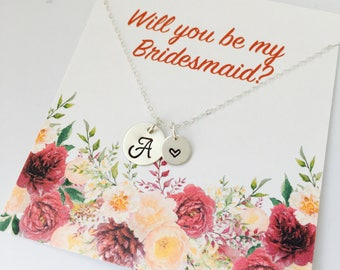 Will you be my Bridesmaid Necklace, Bridesmaid Initial Necklace, Wedding Jewelry, Personalized Bridesmaid Gift