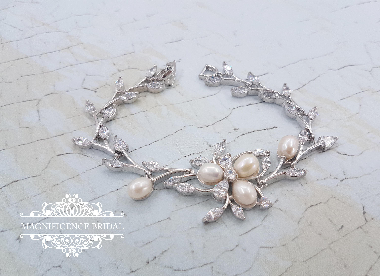 Pearl Bridal Bracelet Jewelry Flower Ivory Wedding Jewellery ZURIE
