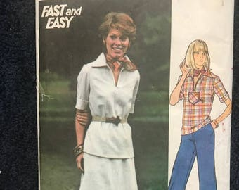 1970s - Butterick 3901 Vintage Sewing Pattern, Women's Skirt, Top and Pants