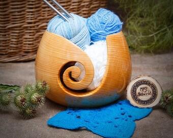 Yarn Bowl natural wood Siberian Cedar wood yarn organizer Knitting crochet #KL7