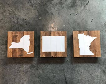 12x12 Choose Your State Painted Wood State Sign - Silhouette wall art - California