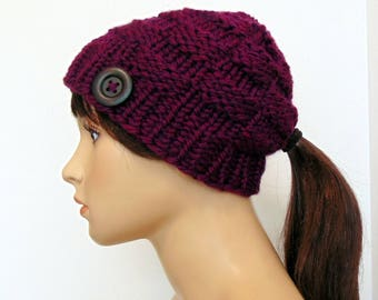 Knit Ponytail Hat Chunky Knit Beanie Pony Tail Hole Plum Purple  Women or Child Mommy & Me Winter Hat Gift for Her Alaskan Made