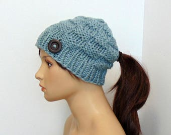 Low Ponytail Hat, Pony Tail Beanie, Chunky Knit Beanie with Hole, Gift for Her, Handmade Alaska, Ski Hat, Ponytail or Bun Hole Hat