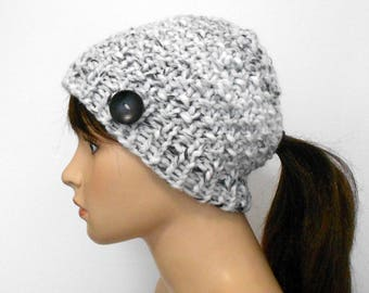 Ponytail Hat - Ponytail Beanie -  Pony Tail Hole - Chunky Knit - Women's Winter Hat - Handmade In Alaska - Christmas - Gift for Her