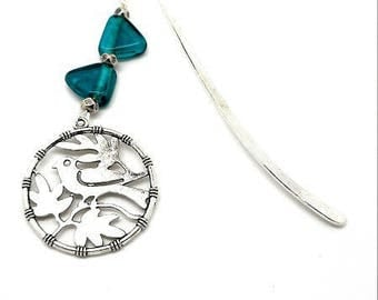 Bookmark silver jewelry, green beads, bird charms and key charm