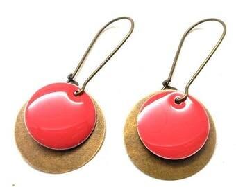 Earrings sleepers bronze sequin round dark pink