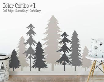 3 Color Pine Tree Forest Wall Decals   Tree Wall Decals, Forest Mural,  Forest