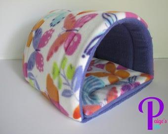 Fleece Hidey House for Guinea Pigs, Ferrets, Hedgehogs, etc. | Butterfly with Purple