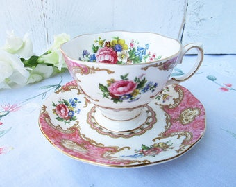 Vintage Royal Albert tea cup and saucer, Lady Carlyle, Bone China England, Lady Size, High Tea, Wedding Gift