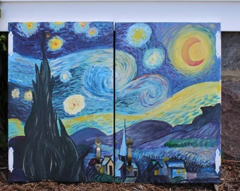 Monet Starry Night hand painted cabinet doors