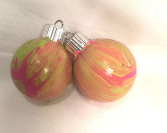 Hot Pink and Lime Green Hand Swirl Marble Acrylic Pour Painted Small Glass Christmas Ornaments