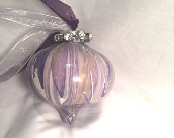 Purple Gold White Hand Painted  Swirl Paint Onion Christmas Ornament Rhinestones Ribbon